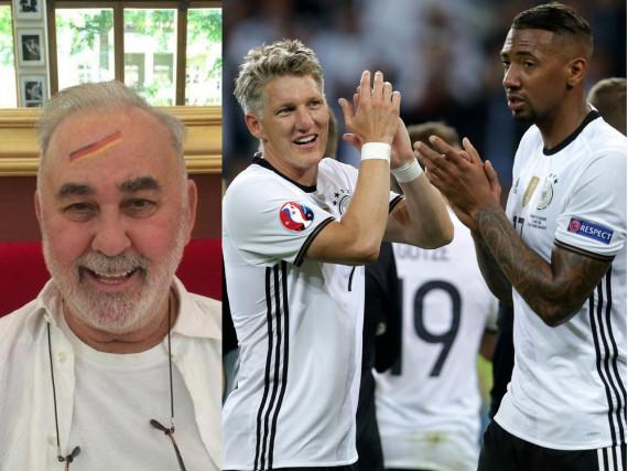 Star-Friseur Udo Walz (l.) zeigt mit diesem Foto auch auf seinem Facebook-Account, dass er Fußball-Fan ist - von Bastian Schweinsteiger (Mitte) und Jerome Boateng (r.) hält er viel