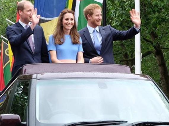 Prinz William (l.), Herzogin Kate und Prinz Harry bei einem ihrer gemeinsamen Auftritte