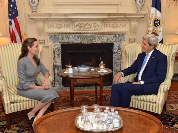 Angelina Jolie und John Kerry diskutierten in Washington über die Flüchtlingskrise