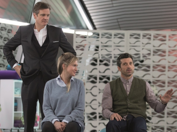Marc (Colin Firth, l.), Bridget (Renée Zellweger) und Jack Qwant (Patrick Dempsey, r.) beim Geburtsvorbereitungskurs