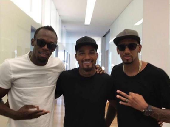 Usain Bolt, Kevin-Prince und Jerome Boateng scheinen sich gut zu verstehen