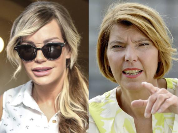 Reality-TV-Star Gina-Lisa Lohfink (l.) wird von Moderatorin Bettina Böttinger (r.) unterstützt