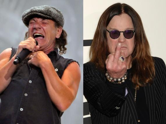 An Brian Johnson (li.) und Ozzy Osbourne sind die Jahre im Rock-Biz nicht spurlos vorüber gegangen