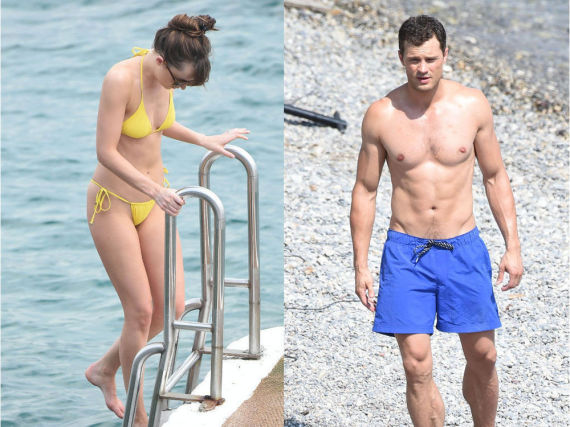 Dakota Johnson und Jamie Dornan in Bademode