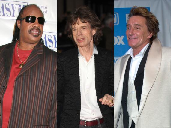 Stevie Wonder, Mick Jagger und Rod Stewart (v.l.) gehören zu den kinderreichen Promi-Papas