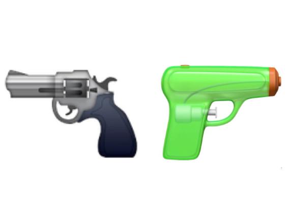 Der bisherige Revolver-Emoji wird von der giftgrünen Wasserpistole abgelöst