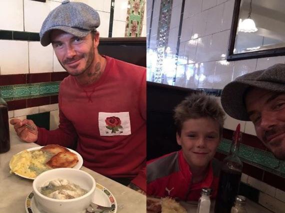 David Beckham genießt das Mittagessen mit seinem Sohm
