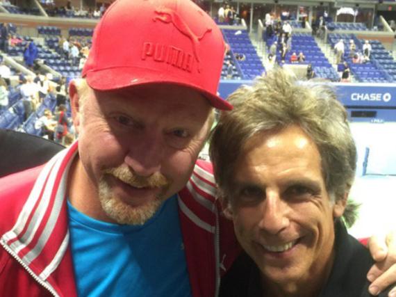 Boris Becker (l.) und Ben Stiller bei den US-Open 2016