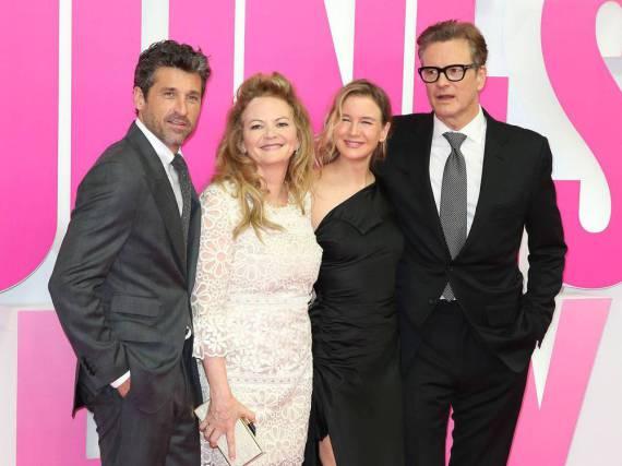 Patrick Dempsey (v.l.n.r.), Regisseurin Sharon Maguire, Renée Zellweger und Colin Firth bei der Premiere von