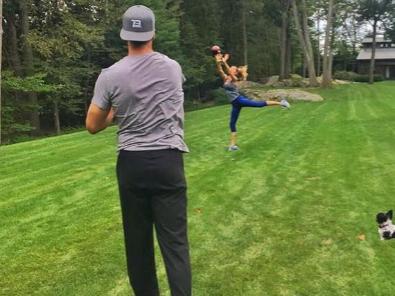 Model Gisele Bündchen trainiert mit ihrem Ehemann Tom Brady