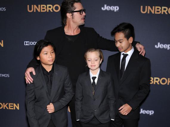 Brad Pitt mit seinen Kindern Pax Thien, Shiloh und Maddox