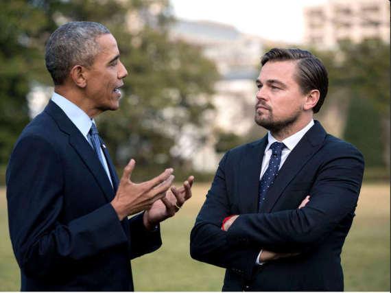 Leonardo DiCaprio (r.) engagiert sich gemeinsam mit US-Präsident Barack Obama für den Naturschutz