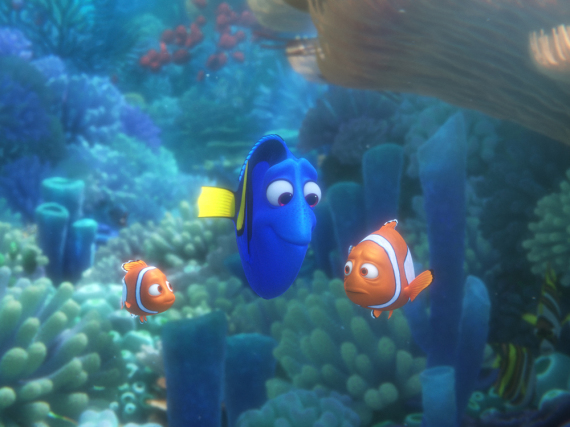 Nemo (v.l.n.r.), Dorie und Marlin sind zurück im Kino