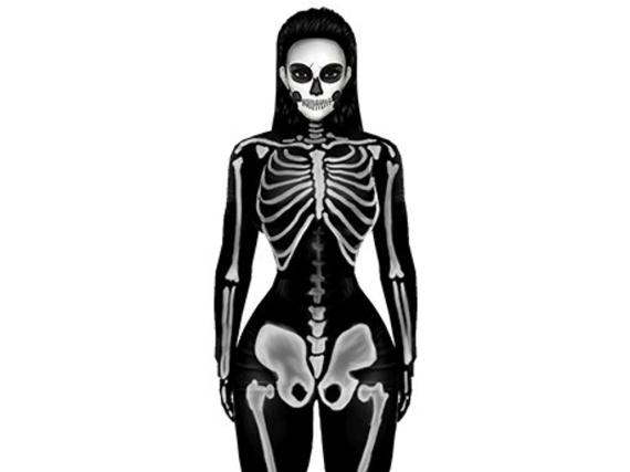 Das neue Kimoji zu Halloween: Kim Kardashian als Skelett