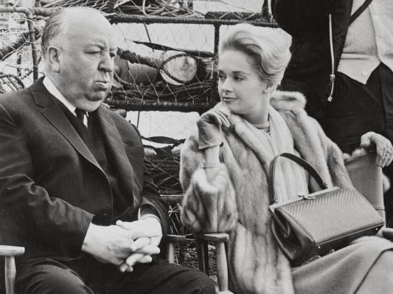 Alfred Hitchcock und Tippi Hedren am Filmset von