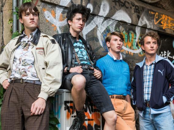 Die vier Freunde: Pommes, Mücke, Spüli und Frank (von links)