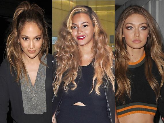 Von Jennifer Loperz über Beyoncé bis hin zu Gigi Hadid (v.l.n.r.): Fast alle Promis lieben den Bronde-Look