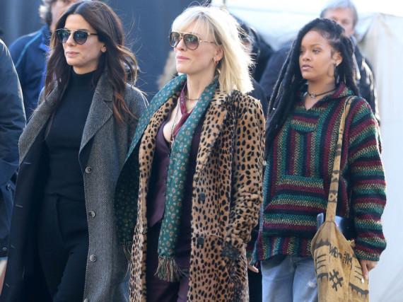 Sandra Bullock (v.l.), Cate Blanchett und Rihanna bei den Dreharbeiten zu