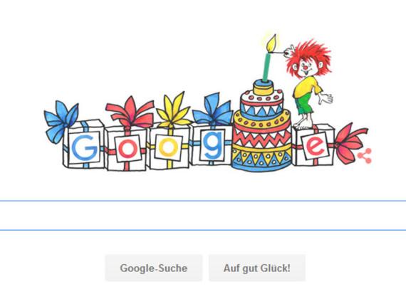 Ganz viele Geschenke, eine Torte und natürlich der Pumuckl sind heute auf Google zu sehen
