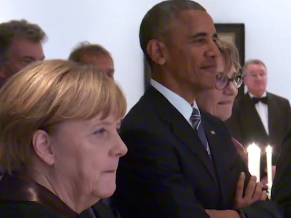 Barack Obama und Angela Merkel lauschten den Trompetenklängen von Till Brönner mit sichtlicher Freude