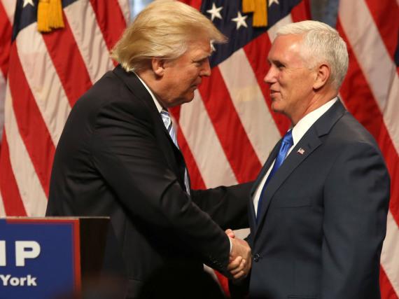 Donald Trump und Mike Pence bei einer Veranstaltung in New York
