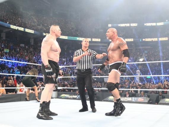 Brock Lesnar (l.) und Bill Goldberg traten im Main-Event der