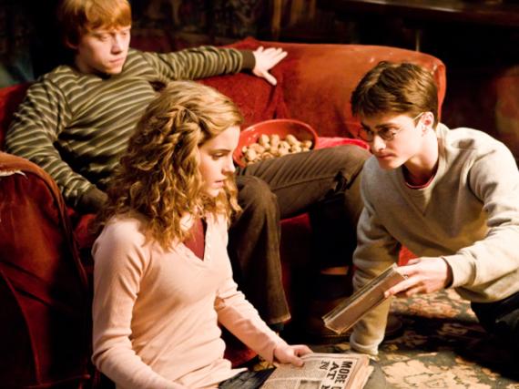 Große Butterbier-Fans: Ron, Hermine und Harry aus den berühmten