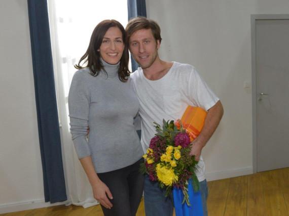 Ulrike Frank und Merlin Leonhardt am Set von