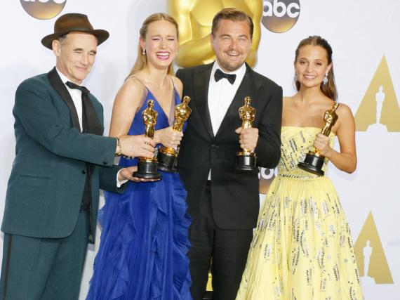 Die Darstellerpreise 2016 gingen an Mark Rylance (v.l.), Brie Larson, Leonardo DiCaprio und Alicia Vikander