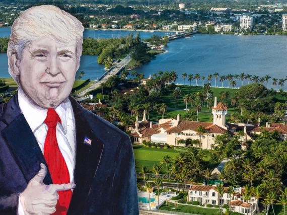 Donald Trump (als Zeichnung) vor seinem Anwesen in Florida