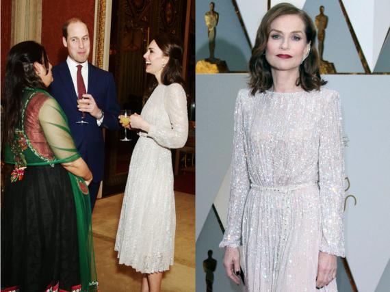 Herzogin Kate trug bei einem Empfang anlässlich des britisch-indischen Kulturjahres ein ähnliches Kleid wie Isabelle Huppert bei den Oscars