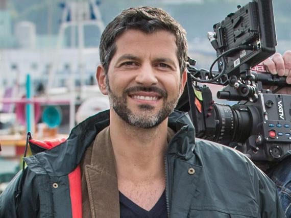 Schauspieler Pasquale Aleardi bei den Dreharbeiten zu einem