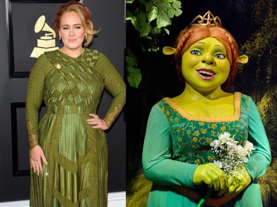 Adele (l.) soll in diesem grünen Kleid Fiona (r.) aus dem Kinofilm
