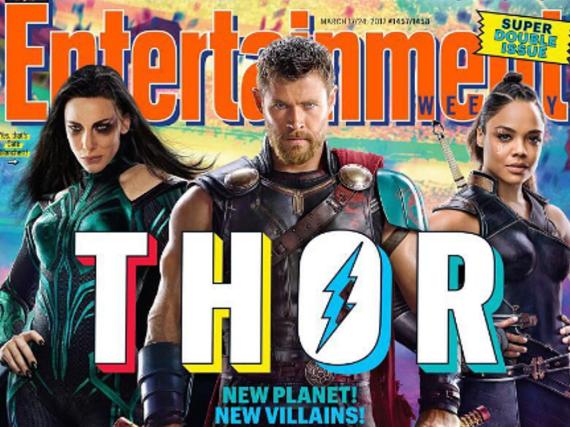Chris Hemsworth alias Thor mit Cate Blanchett (l.) und Tessa Thompson auf dem Cover von