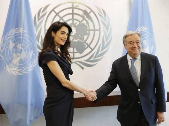 Amal Clooney traf in New York auf UNO-Generalsekretär António Guterres
