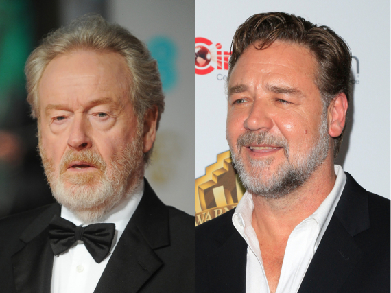 Ridley Scott (l.) will Russell Crowe für ein