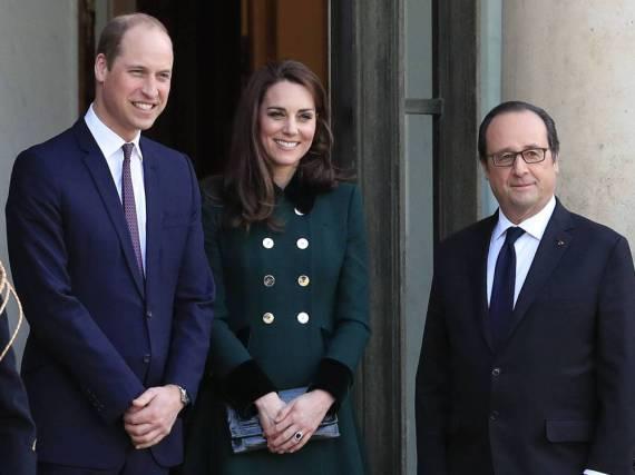 Prinz William und Herzogin Kate mit Frankreichs Präsident Francois Hollande