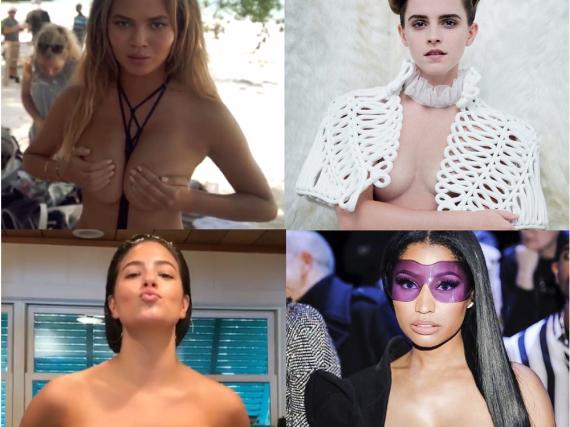 Sie alle geben tiefe Einblicke: Chrissy Teigen, Emma Watson, Ashley Graham und Nicki Minaj