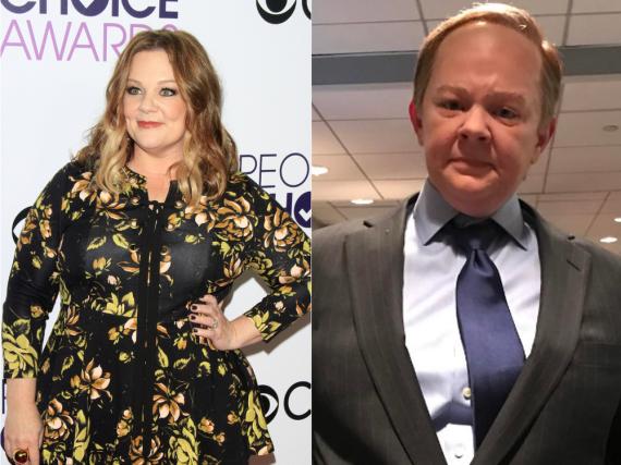 Melissa McCarthy scheut keine Kostümierung - rechts als Sean Spicer für