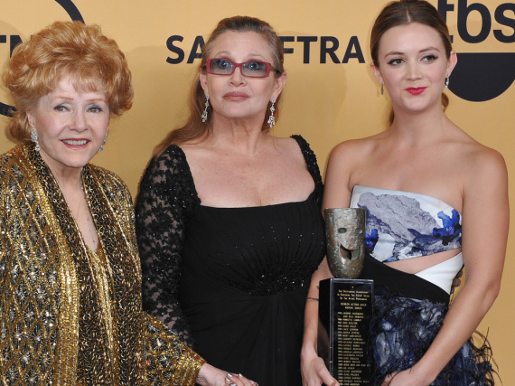 Debbie Reynolds mit Tochter Carrie Fisher und Enkelin Billie Lourd 2015 in Los Angeles