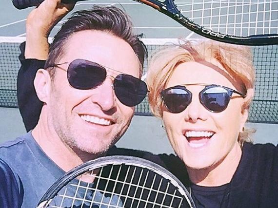 Zwei Asse auf dem Court: Hugh Jackman und seine Ehefrau Deborra-Lee Furness
